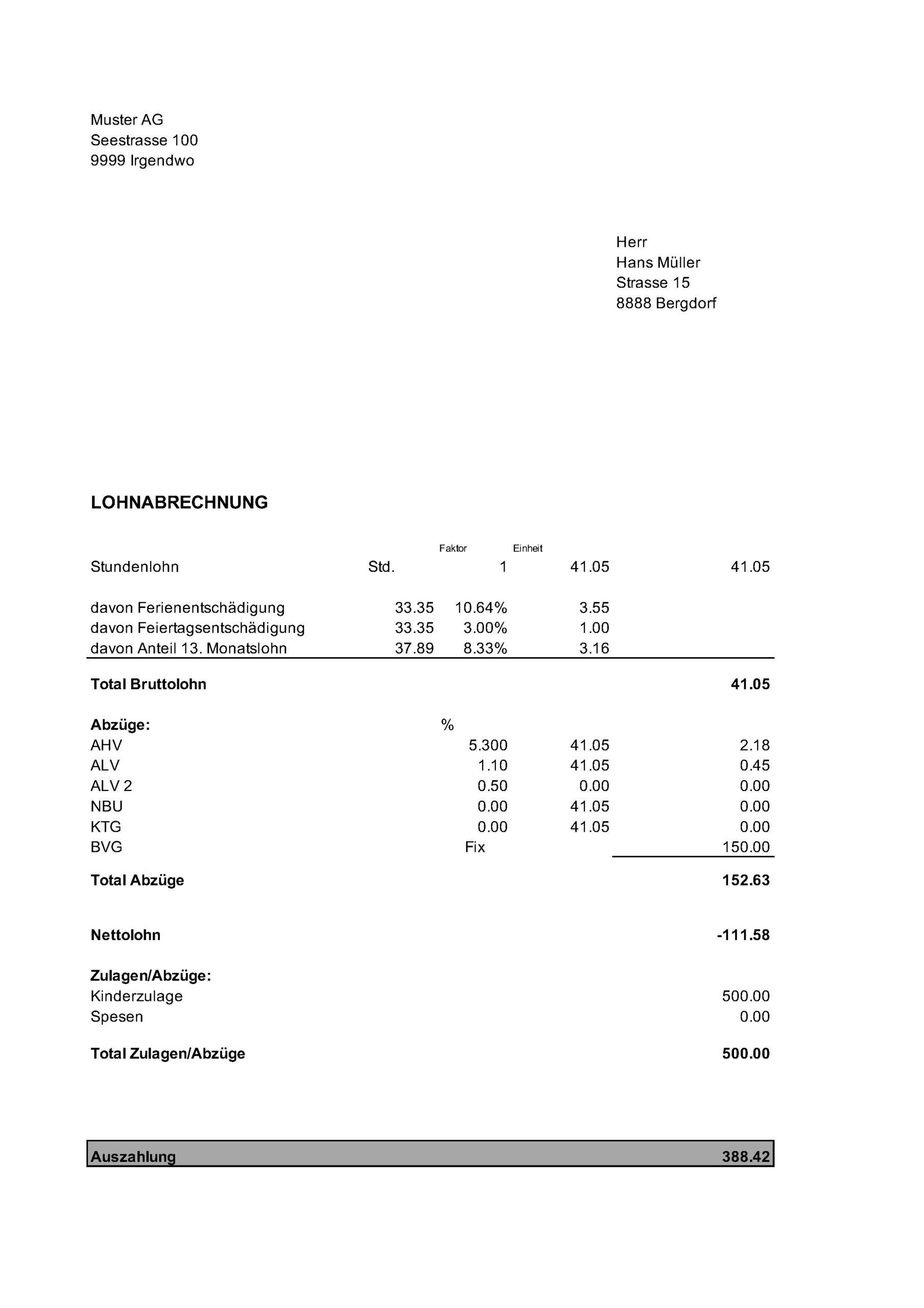 Vorlage Lohnabrechnung Stundenlohn - XLS