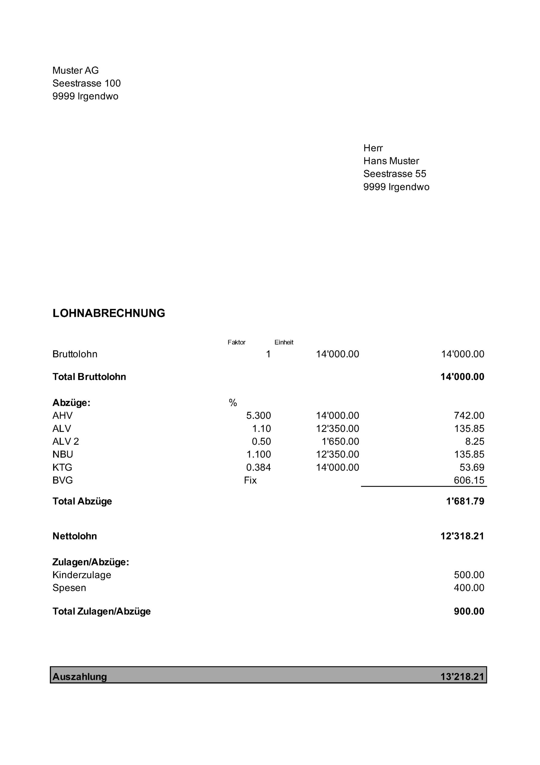 Vorlage Lohnabrechnung Monatslohn - XLS
