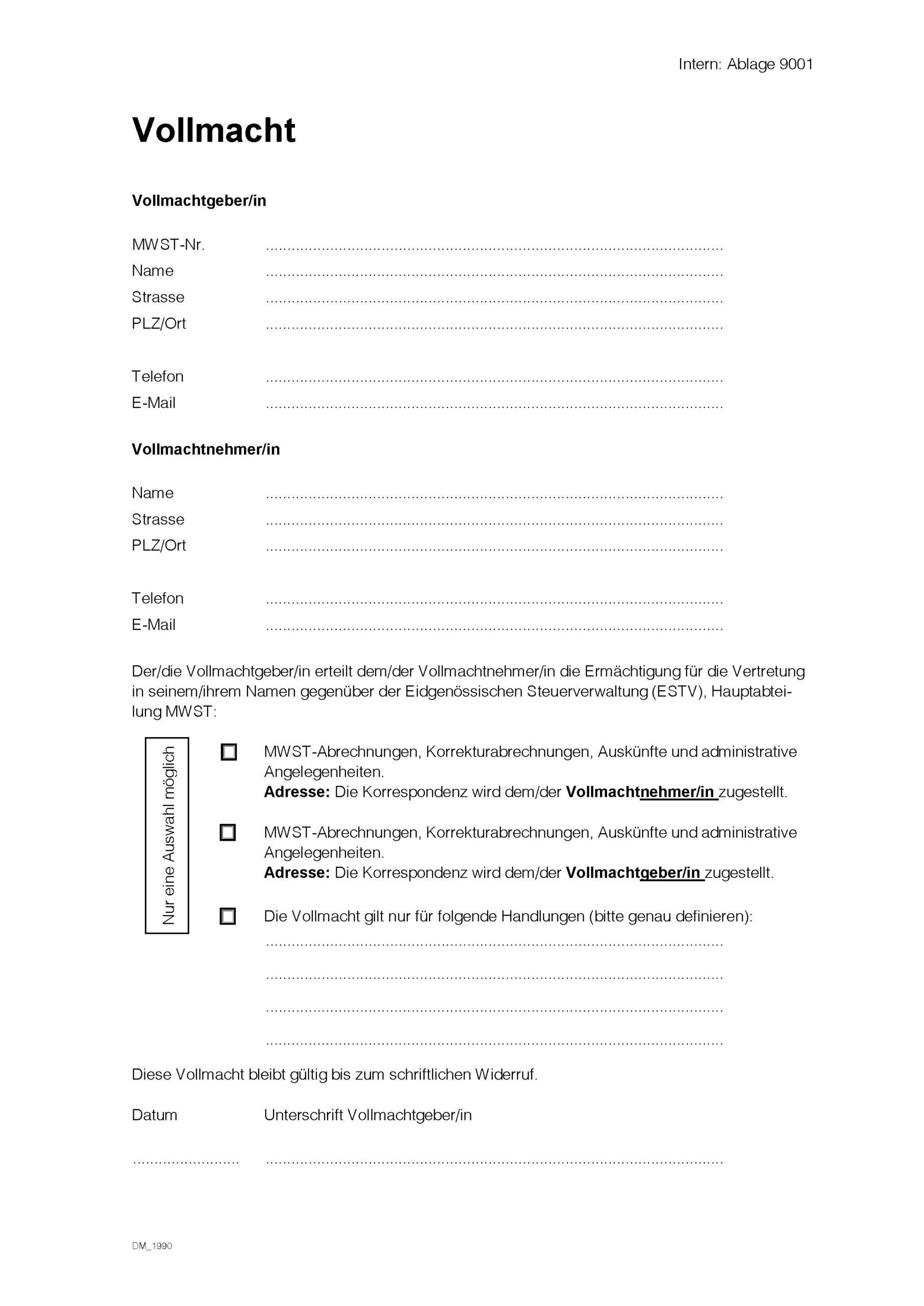 MWST-Vollmacht - PDF